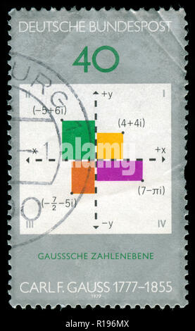 Postmarked stamp from the Federal Republic of Germany in the Gauss - Carl Friederich, mathematician series issued in 1977 - Stock Photo