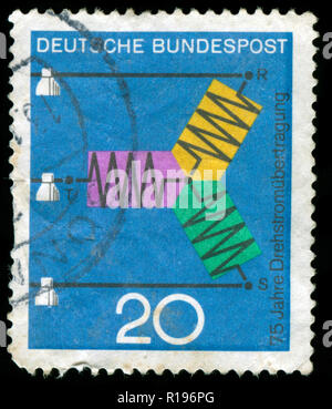 Postmarked stamp from the Federal Republic of Germany in the Scientific Anniversaries series issued in 1966 - Stock Photo