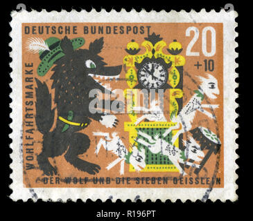 Postmarked stamp from the Federal Republic of Germany in the Welfare: Stories of the Brothers Grimm series issued in 1963 - Stock Photo
