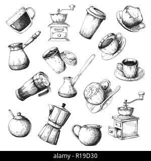 Large coffee set. Sketch the different cups of coffee, coffee pots and other items. - Stock Photo