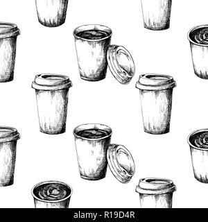 Seamless pattern of a cup of coffee. Vector illustration of a sketch style. - Stock Photo