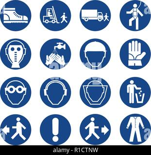 Set of safety equipment signs. Mandatory construction and industry signs. Collection of safety and health protection equipment. Protection on work. Ve - Stock Photo