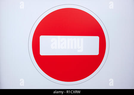 Close up of a No Entry road sign UK - Stock Photo