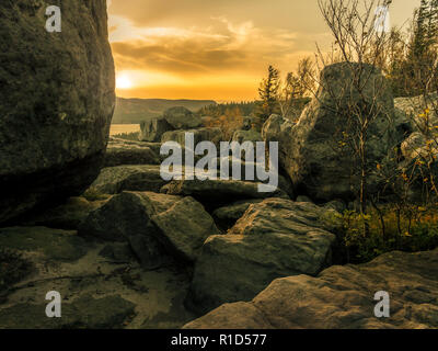Beautiful sunset view from Szczeliniec Wielki - Table Mountain National Park, Poland - Stock Photo