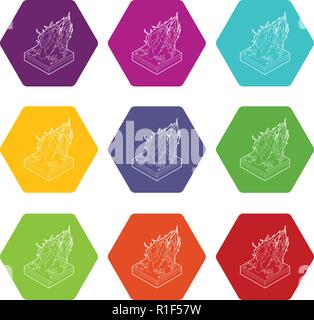 Forest fire icons set 9 vector - Stock Photo