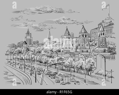 Cityscape of embankment of Kremlin towers and Moscow river (Red Square, Moscow, Russia) isolated vector hand drawing illustration in black and white c - Stock Photo