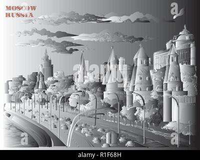 Cityscape of embankment of Kremlin towers and Moscow river (Red Square, Moscow, Russia) isolated vector hand drawing illustration in black and white g - Stock Photo