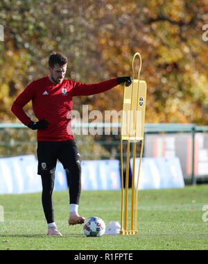 Cardiff, Wales, UK. 12th November, 2018. Aaron Ramsey of Wales in action during the Wales football squad training at the Vale Resort in Hensol, near Cardiff , South Wales on Monday 12th November 2018.  the team are preparing for their UEFA Nations League match against Denmark this Friday.   pic by Andrew Orchard/Alamy Live News - Stock Photo