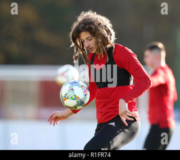 Cardiff, Wales, UK. 12th November, 2018. Ethan Ampadu of Wales in action during the Wales football squad training at the Vale Resort in Hensol, near Cardiff , South Wales on Monday 12th November 2018.  the team are preparing for their UEFA Nations League match against Denmark this Friday.   pic by Andrew Orchard/Alamy Live News - Stock Photo