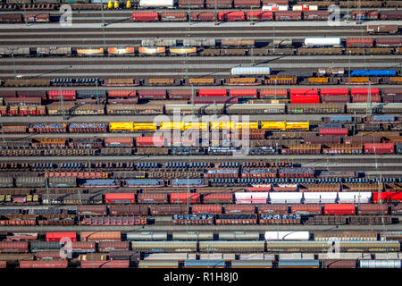 Marshalling yard Hagen-Vorhalle with freight wagons on tracks, freight trains, Hagen, Ruhr Area, North Rhine-Westphalia, Germany - Stock Photo