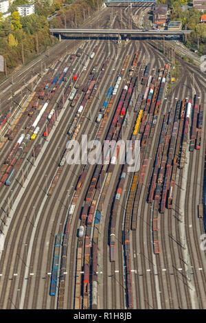 Marshalling yard Hagen-Vorhalle, tracks with freight wagons, Hagen, Ruhr area, North Rhine-Westphalia, Germany - Stock Photo