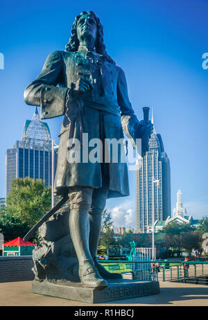 A statue of Pierre Le Moyne d'Iberville faces the Port of Mobile from his perch in Cooper Riverside Park,  November 27, 2015, in Mobile, Alabama. - Stock Photo