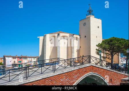 Church Saint-Francois-d´Assise, Port Grimaud, Var, Provence-Alpes-Cote d`Azur, France, Europe - Stock Photo