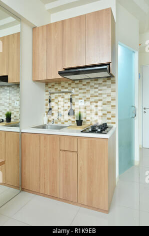 Kitchen set in the small modern apartement - Stock Photo