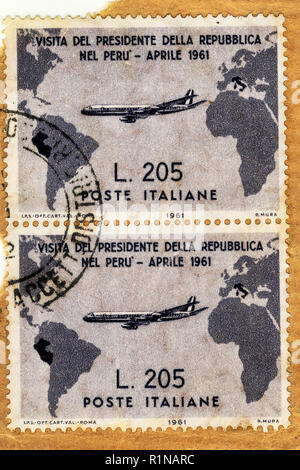 Italy - CIRCA 1961:A stamp printed in Italy, Used and traveled vertical pair of Italian  grey Gronchi stamp of worth 205 Lire,commemorates the visit o - Stock Photo