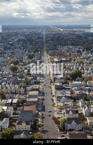 helicopter aerial view of street grid of Bayonne city, New Jersey, USA - Stock Photo