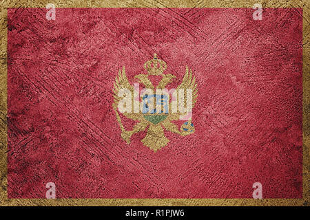 Grunge Montenegro flag. Montenegro flag with grunge texture. - Stock Photo