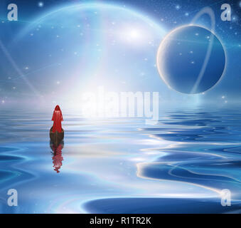 Exosolar Planets Rise over quiet waters. Figure in red cloak floats in boat. - Stock Photo