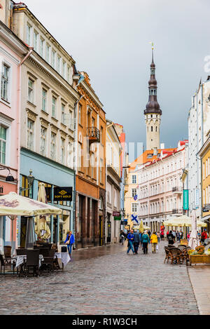 The famous Viru street, in the background, the town hall tower. Tallinn, Harju County, Estonia, Baltic states, Europe. - Stock Photo