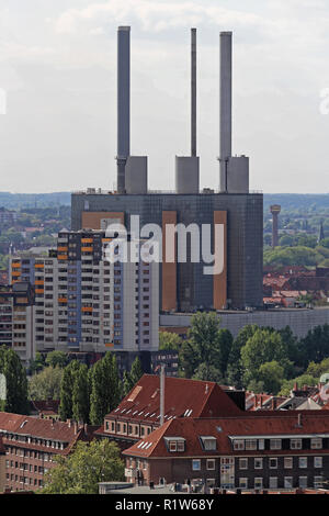 Hanover, Germany - May 03, 2011: Linden Gas Power Plant in Hanover on MAY 03, 2011. Famous Industrial Landmark Heizkraftwerk in Hannover, Germany. - Stock Photo
