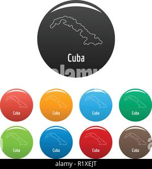 Cuba map thin line. Simple illustration of Cuba map vector isolated on white background - Stock Photo