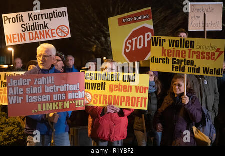 Schmalkalden, Germany. 15th Nov, 2018. Participants at the demonstration of the association 'Thüringer gegen Südlink' in the run-up to the citizens' dialogue with Federal Economics Minister Altmaier carry posters against the Südlink power line. Altmaier wants to inform himself about the problems and obstacles in the expansion of new power lines in Thuringia and Bavaria and talk about the grid expansion projects in the region. Credit: Arifoto Ug/Michael Reichel/dpa/Alamy Live News - Stock Photo