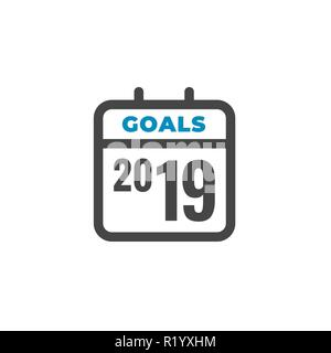 2019 Goals Vector graphic with year 2019 and artistically styled images - Stock Photo