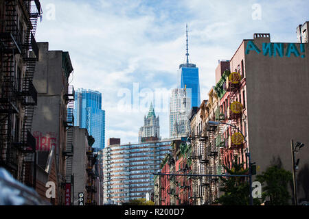 NEW YORK - USA- 28 OCTOBER 2018. Close-up view of New York City style apartment buildings with emergency stairs along Mott Street in Chinatown. - Stock Photo