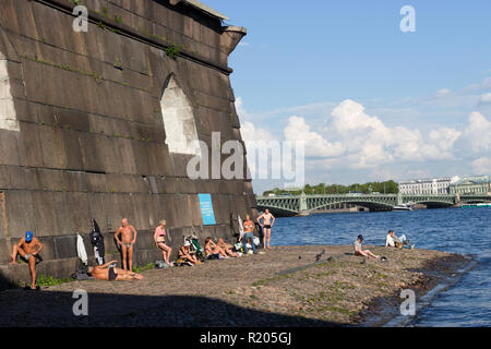 City beach at Peter and Paul fortress in Saint Petersburg, Russia. - Stock Photo