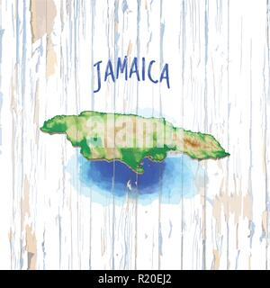Vintage map of Jamaica. Vector illustration template for wall art and marketing in square format. - Stock Photo