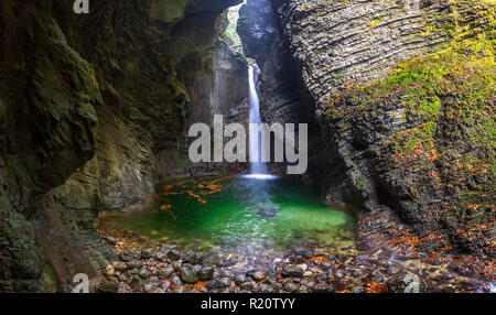 The Kozjak Waterfall is one of the greatest remarkableness in Kobarid region, Slovenia. - Stock Photo