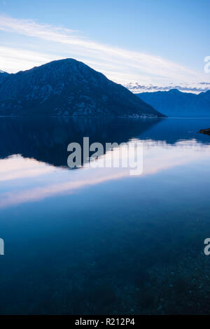 Dawn in The Bay of Kotor, Montenegro - Stock Photo