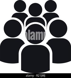 Icon of group of six people silhouettes. Simple vector illustration. Isolated on a white background. - Stock Photo