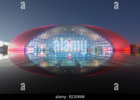Beijing, China - October 21, 2017 : The beautiful night scene of the National Grand Theater (National Center for the Performing Arts) of China in the  - Stock Photo