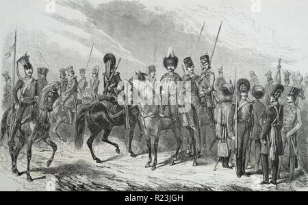 Engraving of the Russian army's uniforms of the 1st Cavalry Division Guard. Dated 1812 - Stock Photo