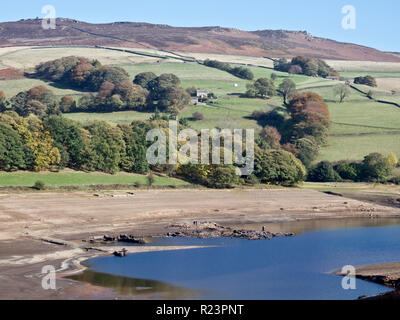 Ladybower Reservoir in Drought Conditions showing Derwent Village, Hope Valley, Peak District National Park, Derbyshire, England, UK in October - Stock Photo