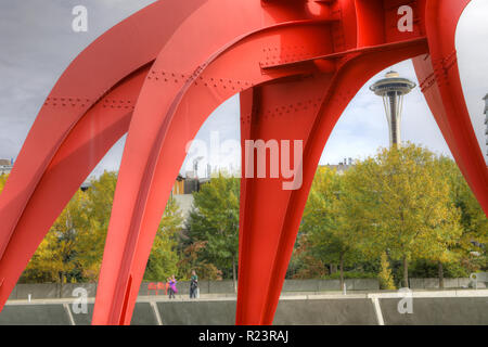 The Space Needle from Olympic Sculpture Park in Seattle, Washington - Stock Photo