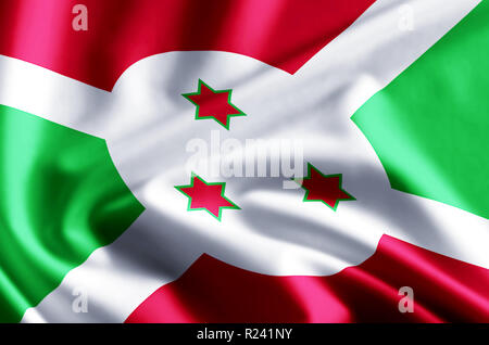 Burundi 3D waving and closeup flag illustration with reflections. Usable for background and texture. - Stock Photo