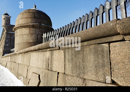 Granite boundary wall of Peter and Paul Fortress in St Petersburg, Russia. - Stock Photo