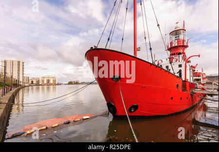 Cardiff, Wales, UK - March 17, 2013: Former Light Vessel 14, now the Lightship 2000 church project, is moored in Roath Basin in the Cardiff Docks, ami - Stock Photo