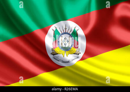 Rio Grande do Sul waving and closeup flag illustration. Perfect for background or texture purposes. - Stock Photo
