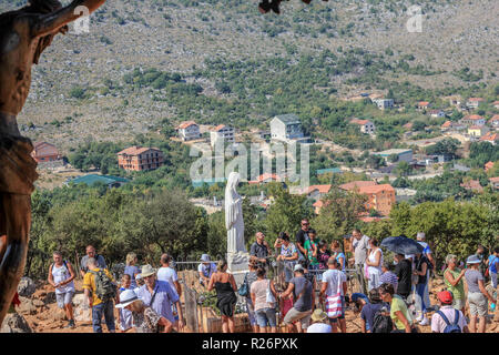 Apparition (Podbrdo) Hill, Medjugorje, August 2013.  The statue of Our Lady located at the site where in 1981 an apparition was seen by several people. - Stock Photo