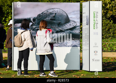 Bright sunny weather in London. Females viewing the Fields of Battle Lands of Peace 14-18 project photo display in St. James's Park. - Stock Photo