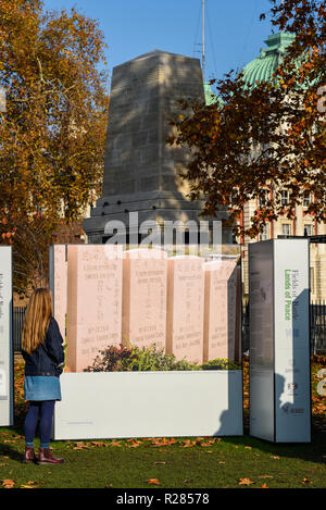 Bright sunny weather in London with Autumn colours on the trees. Female viewing the Fields of Battle Lands of Peace 14-18 project photo display in St. James's Park. - Stock Photo