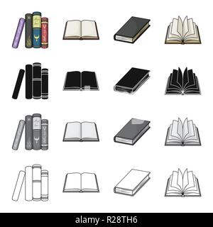 Different types of books, literature, textbook, dictionary. Book set collection icons in cartoon black monochrome outline style vector symbol stock il - Stock Photo