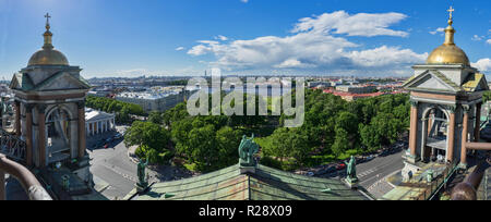 Panoramic view of Saint Petersburg, Russia, from the belfry level of Saint Isaac's cathedral. - Stock Photo