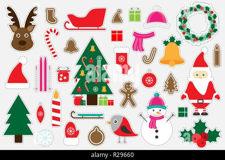 Different colorful christmas pictures for children, fun education game for kids, preschool activity, set of stickers, vector - Stock Photo