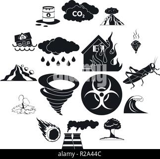 Natural disaster icons set in black simple style for any design - Stock Photo