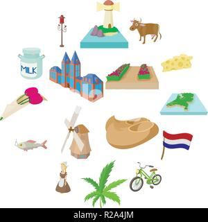 Netherlands icons set in cartoon style on a white background - Stock Photo