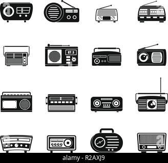 Radio music old device icons set. Simple illustration of 16 radio music old device vector icons for web - Stock Photo